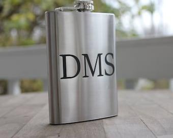Stainless Steel 8oz engraved flask- groomsmen gift- set of 3- valentines gift