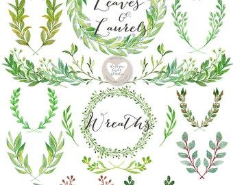 Watercolor Leaves, Laurel and Wreath, wedding clip art, watercolor clip art, hand painted, leaves, watercolour clip art
