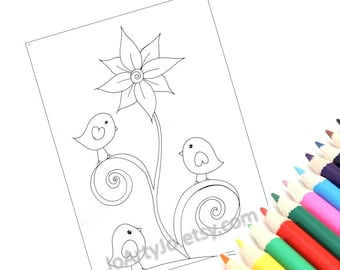 PDF Coloring Page Printable, Cute Birds- Instant Download Page 3