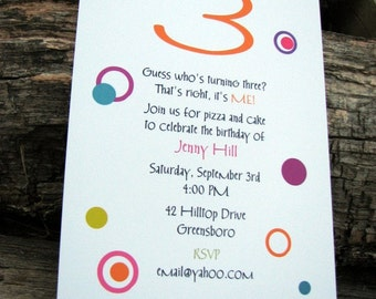 Personalized Birthday Party Invitations or All Occasion Party