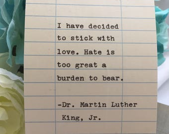 Martin Luther King Quote- Hand Typed on Library Due Date Card