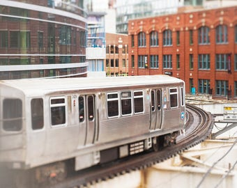 Photograph of CTA Train, Chicago Loop, El Tracks, Wall Art Prints - Chicago Photography, Elevated Train, Playroom Decor, Gray Boys Room Art