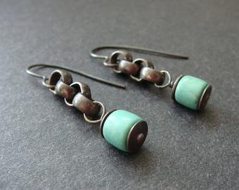 Bohemian Oxidized Sterling Silver Earrings, Rustic Sterling Silver Earrings, Oxidized Silver Earrings.  Boho Sterling Silver, Tribal, Chunky