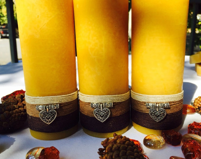 Pure Beeswax Candles-handmade beeswax pillar candles-hemp cord wrapped & charmed w/a silver heart-set of 3 organic beeswax candles