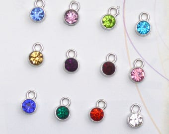 12 pcs Birthstone Metal Colored Clear Charms Pendants 11mm Acrylic Necklace and Bracelet