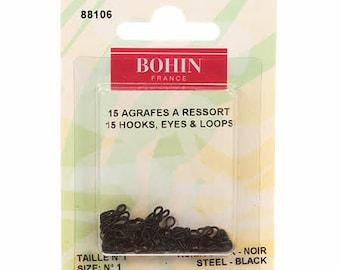 Bohin #1 Hooks, Eyes and Loops Black 88106