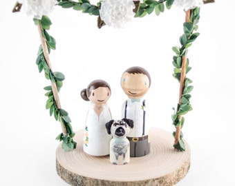 Pug Wedding Cake Topper - rustic dog wedding cake topper - spring rustic wedding decor- dog wedding cake topper - rustic wedding cake topper
