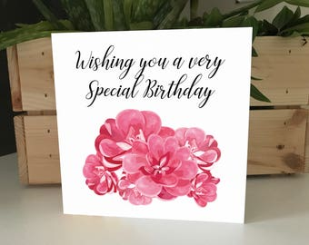 Floral Pink Wishing You a Very Special Birthday Card