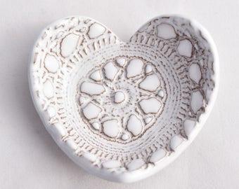 Heart Ring Dish / Ring Holder - White - Valentine's Day- Ceramic Stoneware Pottery