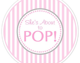 Baby Shower About to Pop labels, Pink Stripes, About to Pop Stickers, Baby Shower Labels