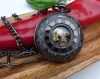 Engravable Black Pocket Watch with Traditional 15 inch Watch Chain - Double Cover to view gear movement - Groomsmen Gift - Item MPW231