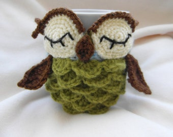 crochet PATTERN ONLY - Owl mug cozy pattern - PDF instructions