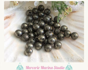 10 natural 10mm 8mm or 6mm pyrite beads - beads not dyed and unheated * reiki * healing chakras