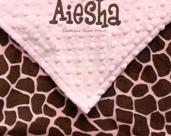 Personalized Toddler Girl Blanket , Pink and Brown Giraffe Minky Blanket , Baby Girl Blanket - 36x40