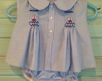 Boys smocked diaper shirt and diaper cover by That's Sew Mimi
