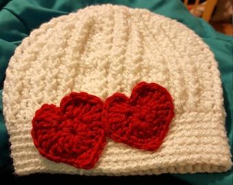Valentine's Day Hand Crocheted Messy Bun Hat