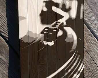 Vinyl Record LP painting on reclaimed plaster lath wood Record player painting