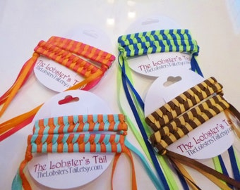 Nostalgic Braided / Woven Ribbon Barrettes Set of Two Hair Clips PICK YOUR COLORS