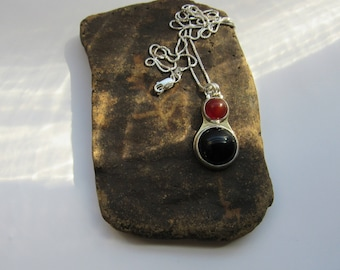 Carnelian Necklace, Mixed metals, Onyx Necklace, sterling silver, dainty, handmade, brass, for her, Minimalist Jewelry, Mixed Stones