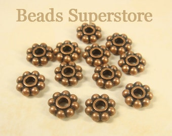 8 mm x 3 mm Antique Copper Daisy Spacer - Nickel Free, Lead Free and Cadmium Free - 20 pcs