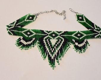 Native American Style Choker Beaded Choker Necklace, Seed Bead Necklace, Folk Necklace, Bib Necklace, Green Necklace