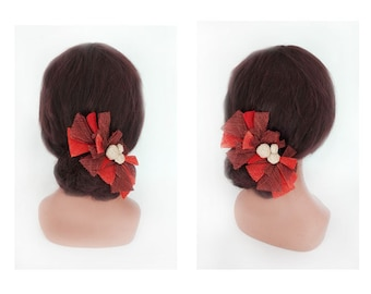 hair pin ceremony spade wedding bun sisal Hat women wedding hair flower