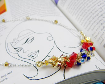 """Superhero Inspired Crystal Necklace Beadweaving Sterling Silver -  """"Ms. Prince"""""""