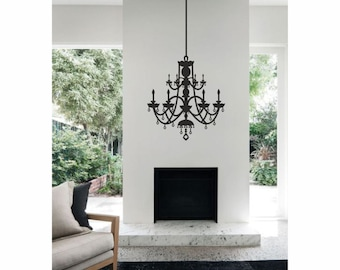 Victorian Chandelier vinyl wall decal / sticker / mural removable wall art ideal for living room or bedroom decor