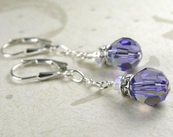 Tanzanite Crystal Earrings, Purple Swarovski, Sterling Silver, Round Drop Dangle, Bridesmaid Wedding Handmade Jewelry, Bridal Party Gift
