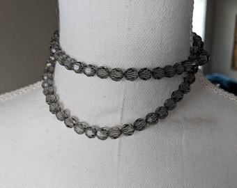 Gray Crystal & Silver Chain Necklace