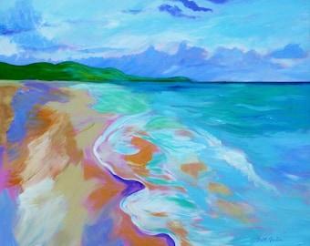 St. Croix Inspiration 4, 24x30, large painting, ocean painting, abstract seascape, abstract beach art, ocean beach art, modern beach decor