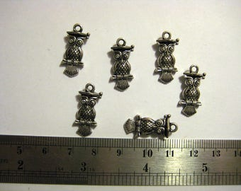 Set of 6 owls in silver