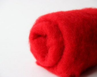 Needle felting wool, 1 oz, passion - bright red.  Maori wool blend of coopworth & corriedale. Felting wool, wool supplies. Red felting wool