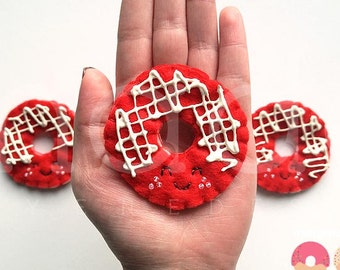 red velvet donut brooch with glaze, felt food pin