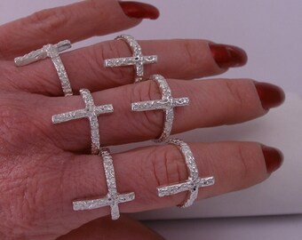 Hand Made Cross Ring of Solid Sterling Silver by Rubyblue Jewelry -  gift for her - faith