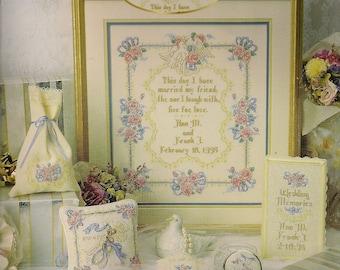 Cross Stitch Patterns Leaflet,Doves Wedding Ensemble,Wedding Bookmark,Wedding Sampler,Ring Bearer's Pillow,Wedding Cover,Wedding Keepsake