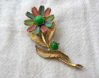 Gorgeous Trifari brooch, vintage floral trifari brooch, poured glass brooch, 50s Trifari brooch, Colorful flower brooch, collectable trifari