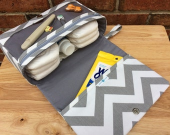 New and larger grey chevron diaper clutch, small diaper bag, gray baby bag with clear zipper pouch, baby shower gift for new parents