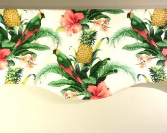 Tropical  Valance, Curved Window Treatment, Palm Valance, Parrot, Beach House Valance, Tommy Bahama Fabric, Beach Decor, Summer Decor