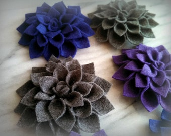 Felt Dahlia flower hair clip or brooch pin set  -choose 3 colors- custom made to order