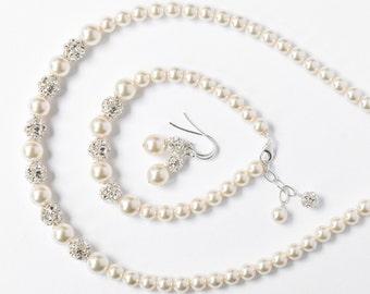 Bride Jewelry Set, Pearl Jewelry Set for the Bride, Art Deco Wedding Jewellery