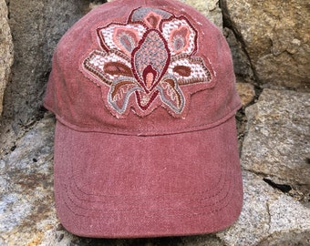 Womens hat, dad hat, womens baseball cap, baseball hat, ooak hat, upcycled hat, unique hat, cute hat, red hat, patch hat