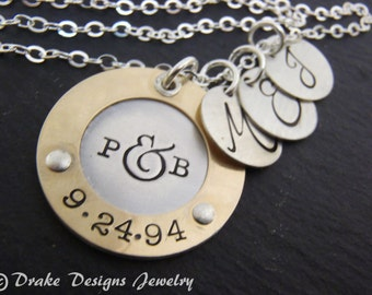 Personalized mothers day from husband initial gift for wife personalized hand stamped custom Mothers necklace mom gift