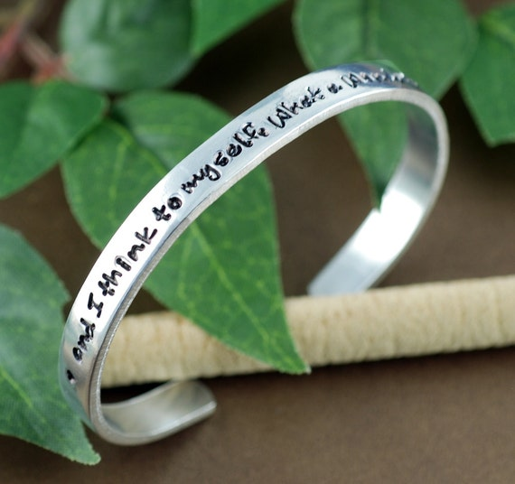 and I think to myself What a wonderful World, Silver Cuff Bracelet, Louie Armstrong Quote, Personalized Bracelets, Anniversary Bracelets