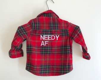 Reworked/embroidered/funny/flannel/kids/needy/size 3
