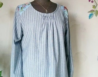 Loose Shift Dress. Linen Cotton Tunic dress.  Long Sleeves. Size M.  Ready to ship. Jtrove