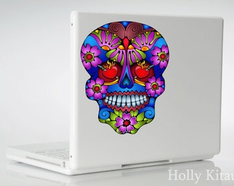Butterfly Sugar Skull Vinyl Decal Sticker Day of the Dead Flower Mexican Skull Muertos