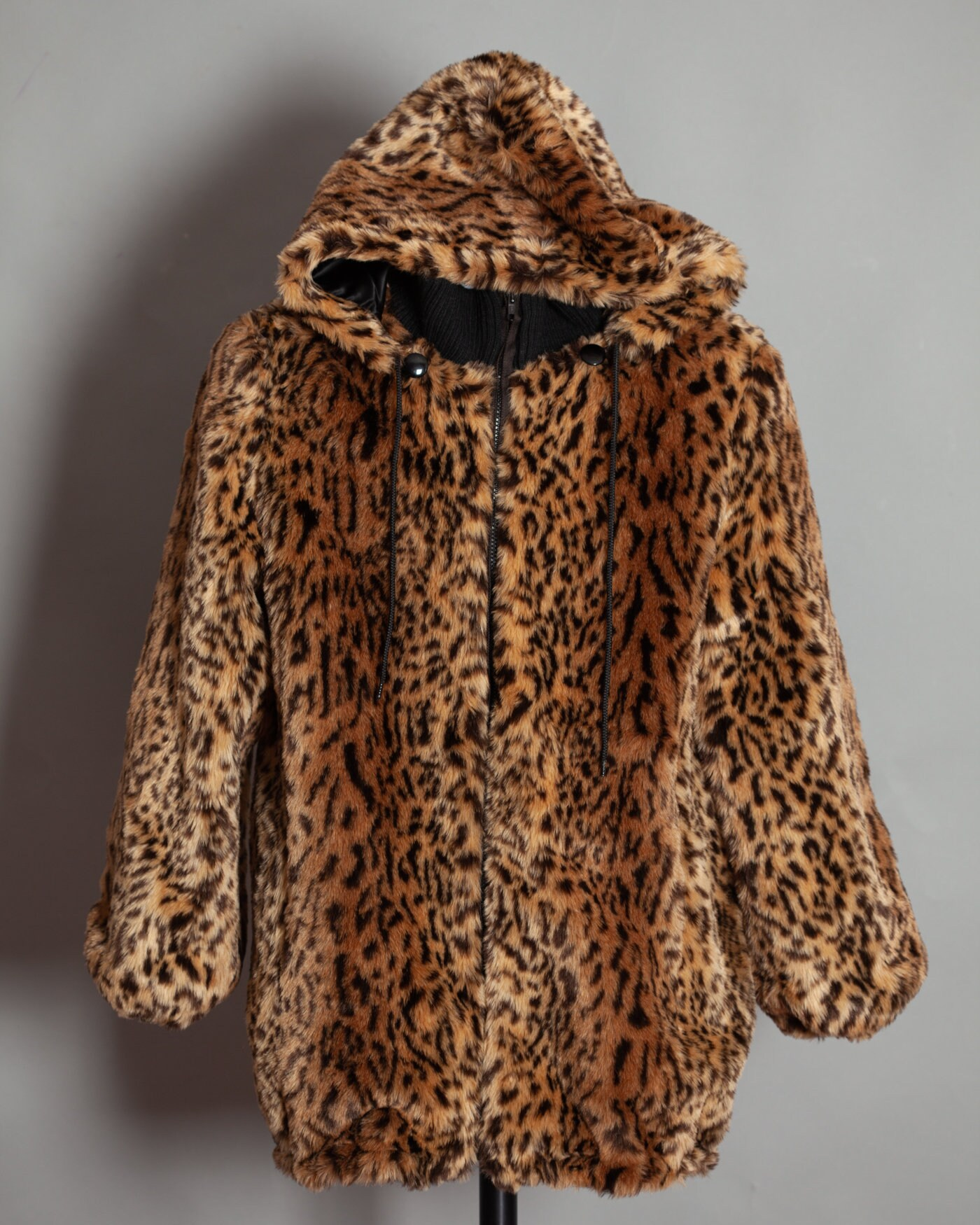Faux Fur Leopard Ocelot Print Hooded Coat - MONTEREY FASHIONS