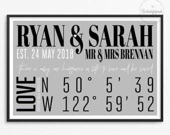 Personalised Gift / Wedding Gift / 1st Wedding Anniversary Gift / Custom Coordinates / Minimalist / City Coordinates / Longitude Latitude /