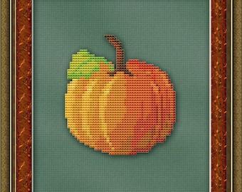 Cross Stitch Pattern Lonely Pumpkin Cross Stitch Pattern